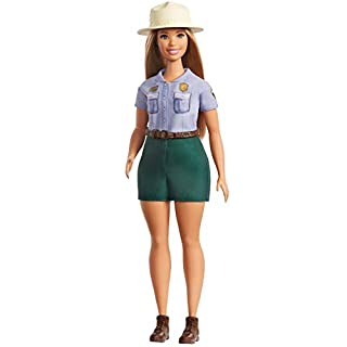 Barbie 12-in/30.40-cm Blonde Curvy Park Ranger Doll with Ranger Outfit Including Denim Shirt, Green Khaki Shorts, Brown Belt, Brown Boots & Straw Hat; for Ages 3 Years Old & Up