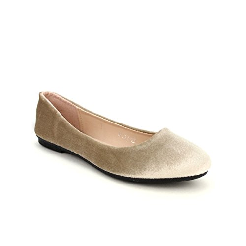 Femme Ballerine Cendriyon Velour Chaussures Beige XELLS 7nqPR