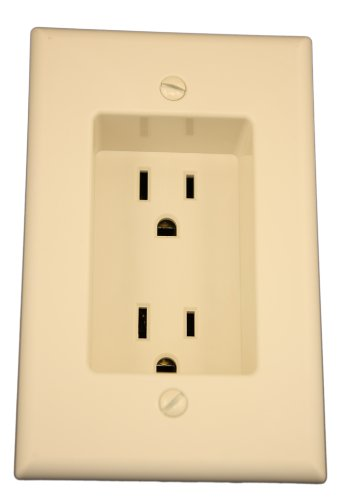 Leviton 689-T 15 Amp 1-Gang Recessed Duplex Receptacle, Residential Grade, with Screws Mounted to Housing, Light Almond