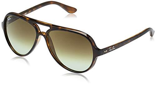 Ray-Ban RB4125 Cats 5000 Aviator Sunglasses, Havana/Green Gradient, 59 mm (Cat Ray Bans)