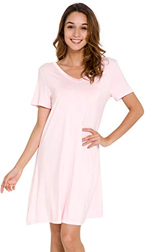 GYS Women's Short Sleeve Nightshirt V Neck Bamboo Nightgown, Pink, Large