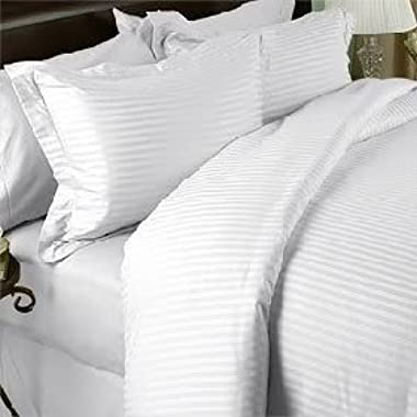 Luxurious WHITE Damask Stripe, CALIFORNIA KING Size. EIGHT (8) Piece GOOSE DOWN Comforter BED IN A BAG Set. 1500 Thread Count Ultra Soft Single-Ply 100% Egyptian Cotton. INCLUDES 4pc BED SHEET Set, 3pc DUVET SET & GOOSE DOWN Comforter