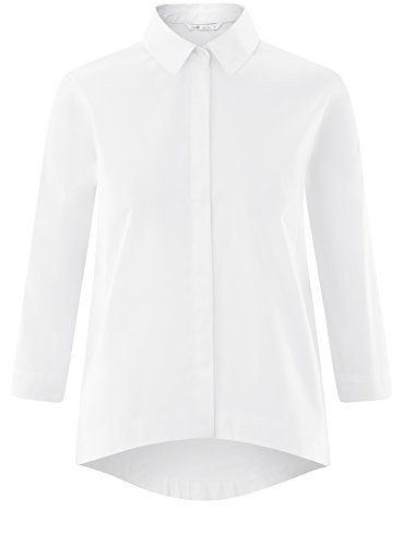 Chemise 1000n Asymtrique Blanc Ample oodji Ourlet Femme Ultra Ax177FE