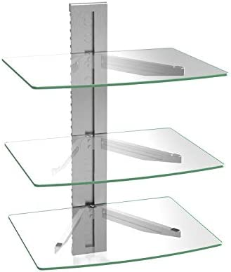 WALI CS303S Floating Wall Mounted Shelf with Transparent Strengthened Tempered Glass for DVD Players,Cable Boxes, Games Consoles, TV Accessories 3 Shelf, Silver