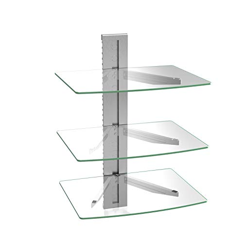 WALI Floating Entertainment Center Shelves, Holds Up to 17.6lbs, TV Shelf with Strengthened Tempered Glasses for DVD…