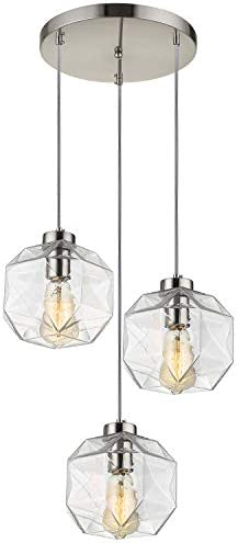 Modern Glass Kitchen Island Lighting, Geometric Clear Glass Hanging Ceiling Lights, 3 Lights Round Base Multi Pendant Lighting for Kitchen Island Dining Room Living Room Table, Brushed Nickel