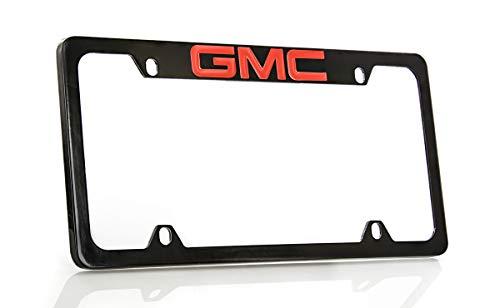 GMC Logo License Plate Frame Holder (4 Hole & Top Engraved, Black Frame & Red Imprint)