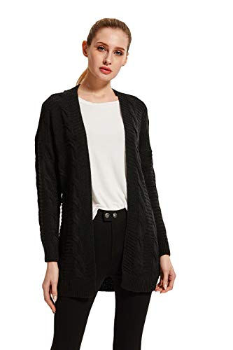 (SheSublime Original Women's Cardigan Long Sleeve Cable Knit Sweater (Medium, Black))