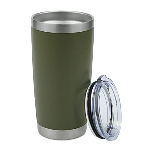 (ONEB 20 oz Double Wall Vacuum Insulated Coffee Cup - 18/8 Stainless Steel Travel Mug for Cold & Hot Drinks (Army Green, 1 Pack))