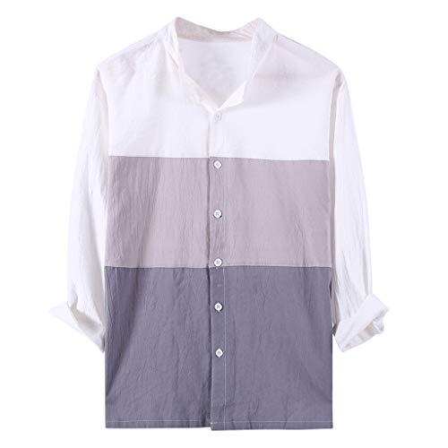 FEDULK Mens Linen Shirt Three Quarter Sleeve Vintage Color Block Retro T-Shirts Button Down Tops Blouse(Gray, Large)