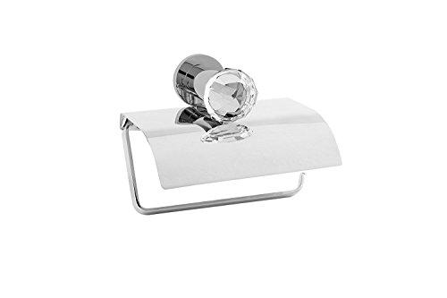 Hispania bath Rock Toilet Paper Roll Holder with Lid, Genuine Swarovski Crystal Inlaid, Bathroom Accessories Tissue Holder, Made in Spain (European Brand) (Polished Chrome)