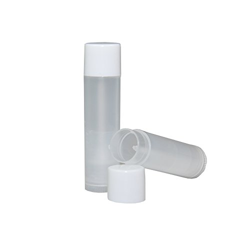 Price comparison product image Empty Lip Gloss Tubes, Make Chap Stick, Lipstick, Gloss, Chapstick Balm, 60 Pack Containers, 3/16 Oz, 5.5 ml, Natural & Translucent, Clear, BPA Free Plastic, White Cap