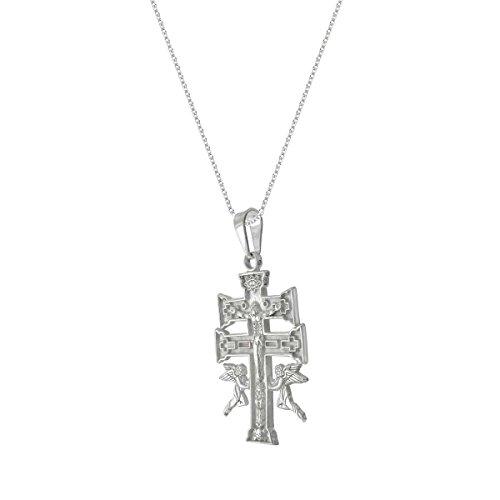 Mexican Silver Cross - THE ICE EMPIRE JEWELRY, LLC Caravaca Cross de la Vera Cruz Pendant Necklace Sterling Silver Chain 20in (29)