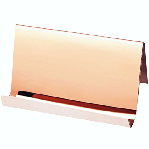 Stainless Steel Business Card Holder,Topspeeder Desktop Cards Display,Professional Business Card Rack Organizer for Office Business etc(Rose (Home Office Card Holder)