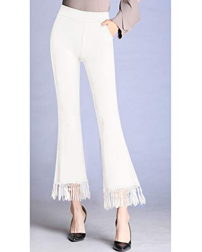d9ee44b0a3af34 Women's High Waist Bell Bottom Tassel Flare Cropped Pants Plus Size Stretch  Wide Leg Capri Pants