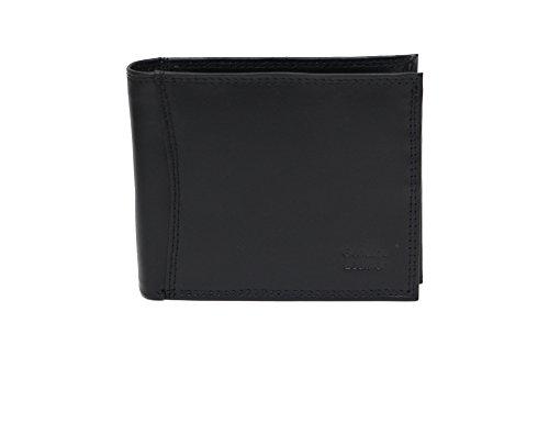 Photo Holder Mens Genuine Large Leather Black Wallet with Tri Fold vvfx8waq