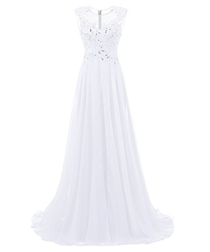 Dresstells Long Prom Dress Scoop Wedding Dress Beadings Evening Gown White Size16