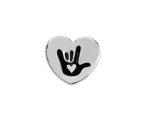 Fundraising For A Cause 25 Pack Deaf Awareness Heart Pins (25 Pins in Bags) -