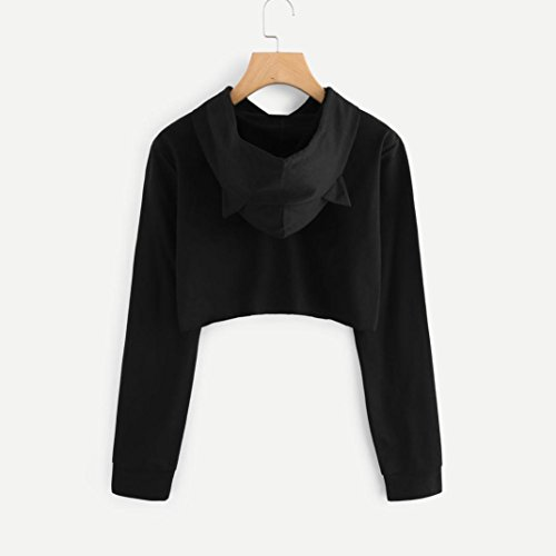 75eed86902d Tloowy Womens Teen Girls Cute Cat Ear Sweatshirt Crop Top Hoodies Long  Sleeve Pullover (Black