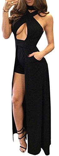 Allonly Femmes Sexy Bandage Wrap Fendu Dos Nu Dos Nu Longue Robe Salopette Maxi Noir
