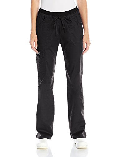 Cherokee Women's Ww Core Stretch Jr. Fit Jr. Fit Low-Rise Drawstring Cargo Pant, Black, Large Arge/Tall