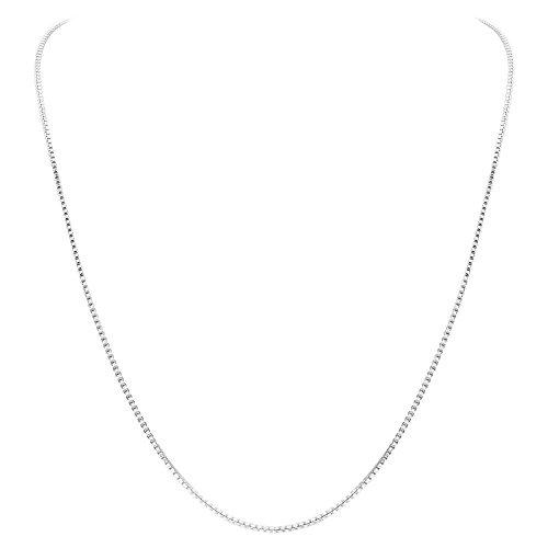 Gem Avenue box1mm18 Italian 925 Sterling Silver Sturdy 1MM Box Chain Necklace
