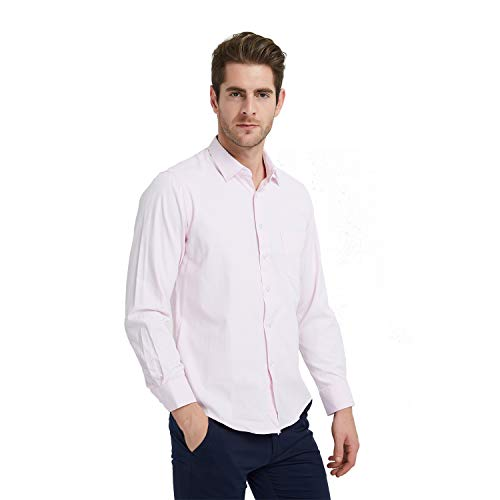 (Ebind Men's Dress Shirt Cotton Non Iron Long Sleeve Spread Collar Button Up, Pink, 15-15.5 34/35)