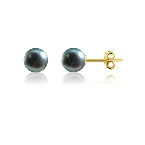 14k Gold Peacock - 14k Gold 7mm Full Round Peacock Cultured Freshwater Pearl Stud Earrings