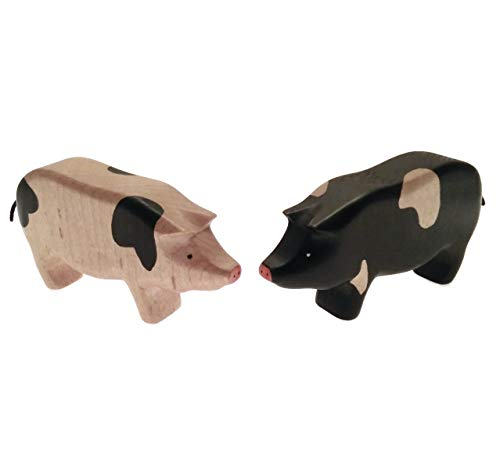 HandWoody Wooden Animal 2 Pig (Black & White) Handmade Handpainted Wood Toy Figure for Kids and Baby for Boys or Girls 2 3 4 5 Years Old and More or Souvenir Natural Set