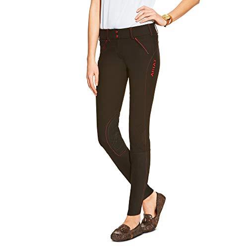 Breeches Ariat (ARIAT Women's Prix Low Rise Knee Patch Front Zip Knee Patch Breech Black Size 26 Long)