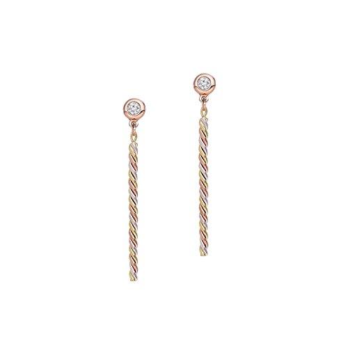 BallucciToosi Diamond Earrings Bezel set- Round Brilliant Cut - 14 Karat Tri Tone Bar Earring for Women - Nice Jewelry For - & Tiffany Co India