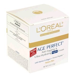 L'Oréal Expertise Nuit Peau Creme Age Perfect pour peaux matures Anti-relâchement et anti-âge Crème hydratante spot Hydratant avec des semences de soja Protéines, 2,5 onces Jar