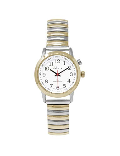 Watch Expansion Face Band (Dakota Ladies Nurse Easy to Read Moonglow Dial Stainless Steel Expansion Stretch Band Water Resistant Watch (Two-Tone))