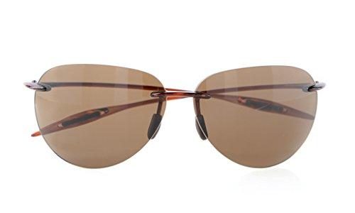 Eyekepper Lunettes de soleil Style Pilote demi-cerclee TR90 nylon sans monture pour homme femme, Brown Lens, taille unique