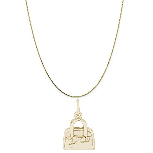 - Rembrandt Charms 10K Yellow Gold Hand Bag Purse Charm on a 10K Yellow Gold Box Chain Necklace, 20