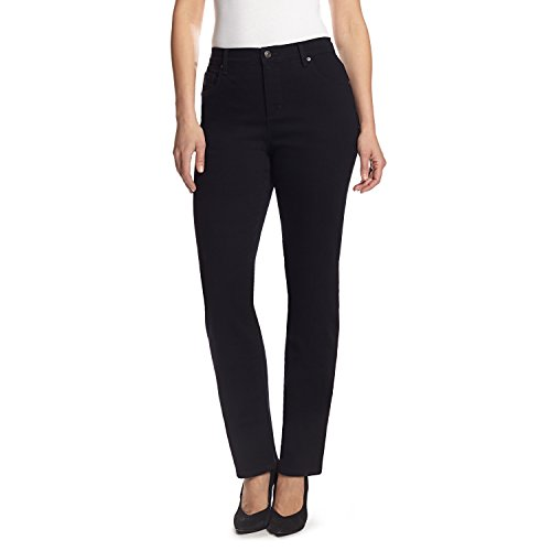 Gloria Vanderbilt Women's Amanda Classic Tapered Jean, Black, 10 (Velvet 5 Pocket Pants)
