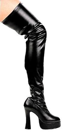 Amazon.com: Black Patent Leather Thigh High Platform Boots: Shoes