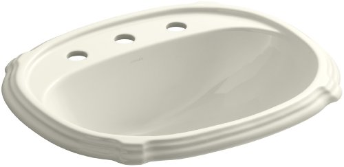 KOHLER K-2189-8-96 Portrait Self-Rimming Bathroom Sink, Biscuit Kohler Portrait Biscuit