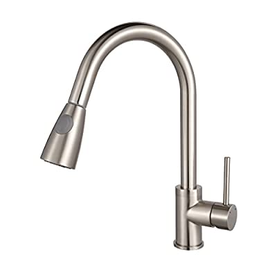 B & Y ® Stainless Steel Single Handle Pull Out Modern Kitchen Sink Faucet, Brushed Nickel