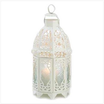 Gifts & Decor White Lattice Hanging Candle Holder Lantern -