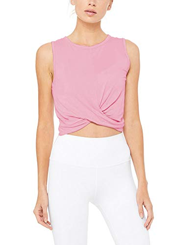 Bestisun Women's Cute Criss Cross Bandage Crop Tops Cut Out Active Bustier Cami Cute Fitness Workout Clothing Loose Fit Basic T-Shirts Pink L - T-shirt Gym Workout