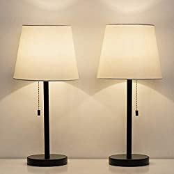 HAITRAL Bedside Table Lamps Set of 2 - Nightstand Lamps with Fabric Shade, Modern Desk Lamps for Bedroom, Living room, Office - 20 inch- Black