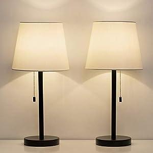 HAITRAL Bedside Table Lamps, Nightstand Lamps Set of 2, Modern Desk Lamps for Bedroom, Living room, Office – Black