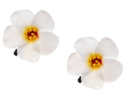 Love Sweety 2pc Hawaiian Plumeria Hair Clips Galsang Flower Barrettes For Beach Party -