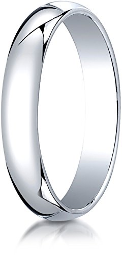 (Benchmark 10K White Gold 4mm Slightly Domed Traditional Oval Wedding Band Ring, Size 11.5)