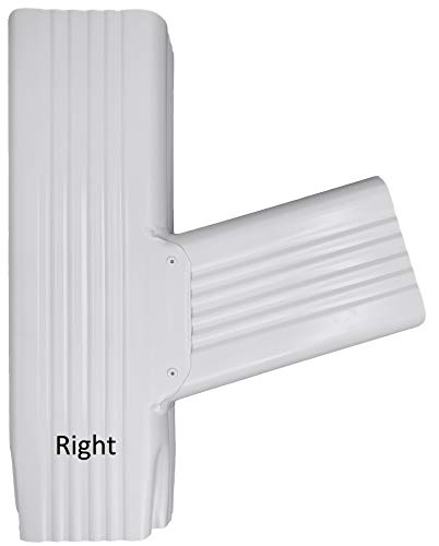 Aquabarrel T Downspout Gutter Funnel Brings 2 Downspouts into 1 (2x3 Right, White)
