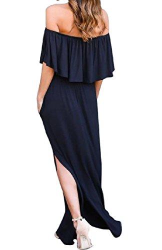 Diviso Donne Nero Coolred Vestito Balze A Tasche Colore Lato Maxi Puro Casuale 4qIrxwTUq