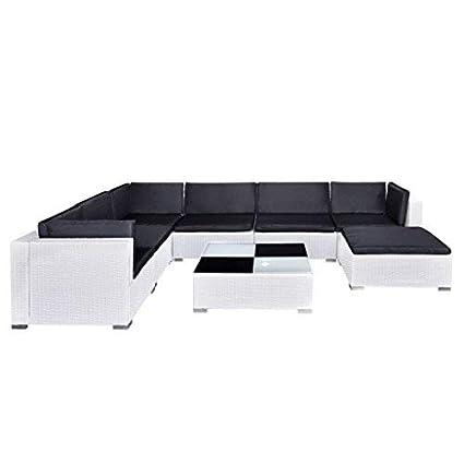 Amazon Com 24 Pieces Garden Lounge Set White Poly Rattan Sectional