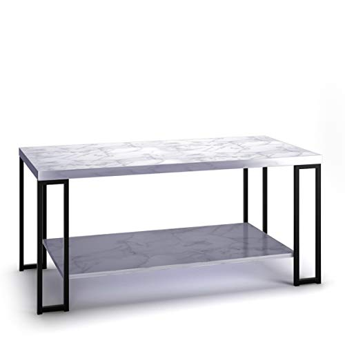 "Giantex Coffee Accent Tea Table for Modern Living Room Bedroom Steel Metal Pine Frame Tables W/Faux Marble Top Cocktail Table (39.5""x20""x18"", Ivory White)"