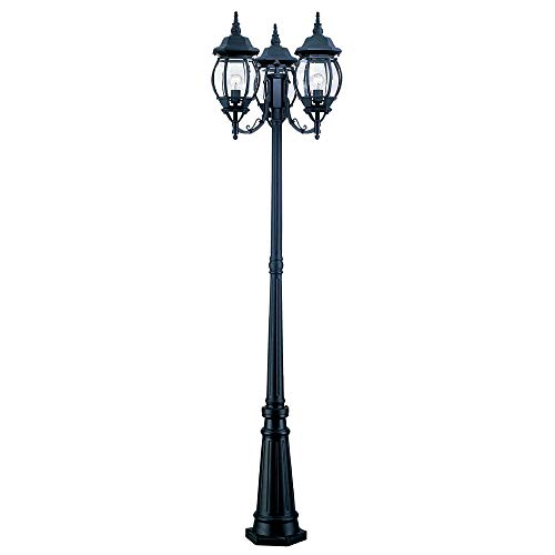 Acclaim 5179BK Chateau Collection 3-Head Surface Mount Outdoor Combination Post Light, Matte Black